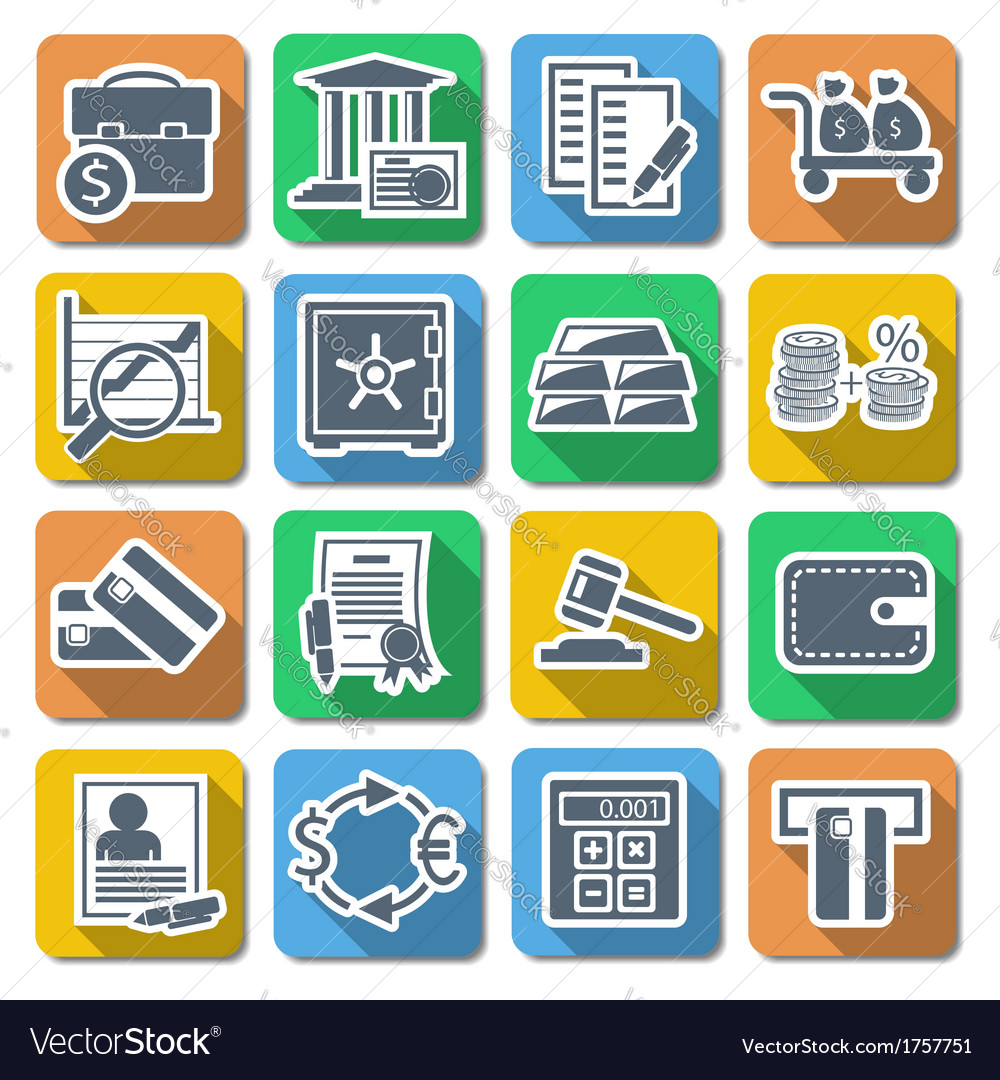 Bank flat icons vector | Price: 1 Credit (USD $1)