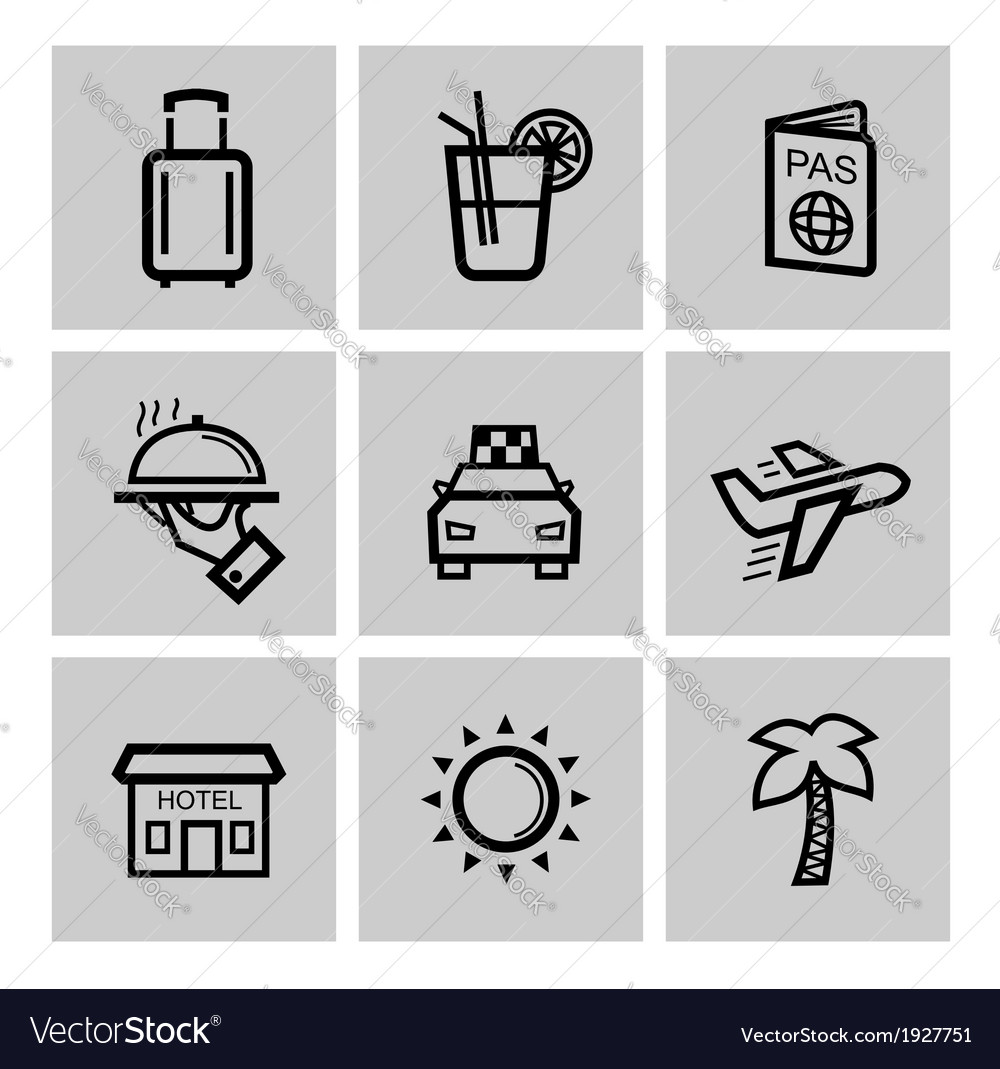 Black vacation travel icon set vector | Price: 1 Credit (USD $1)