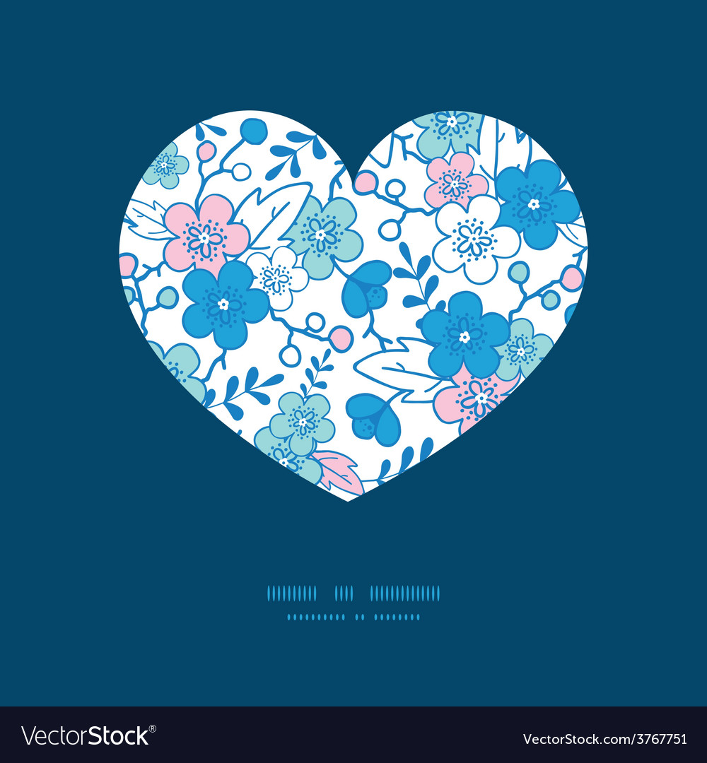 Blue and pink kimono blossoms heart vector | Price: 1 Credit (USD $1)