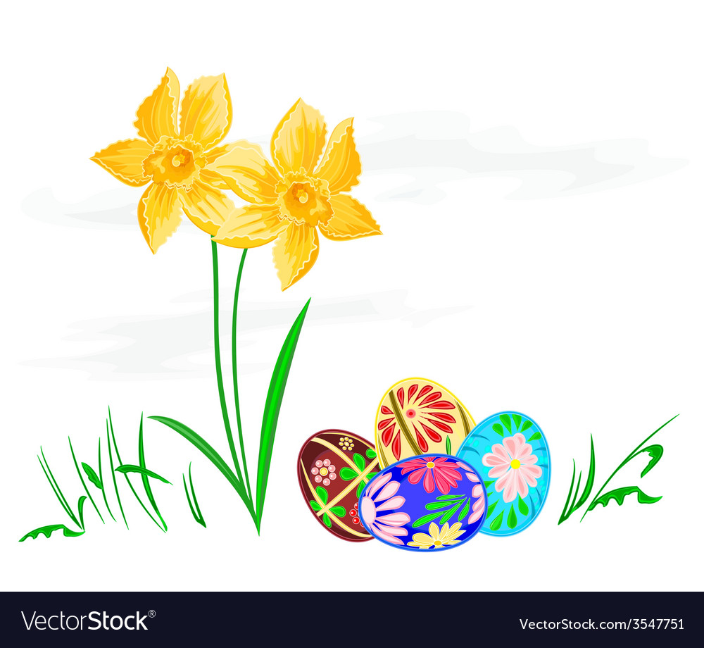 Easter egg with daffodils with grass vector | Price: 1 Credit (USD $1)