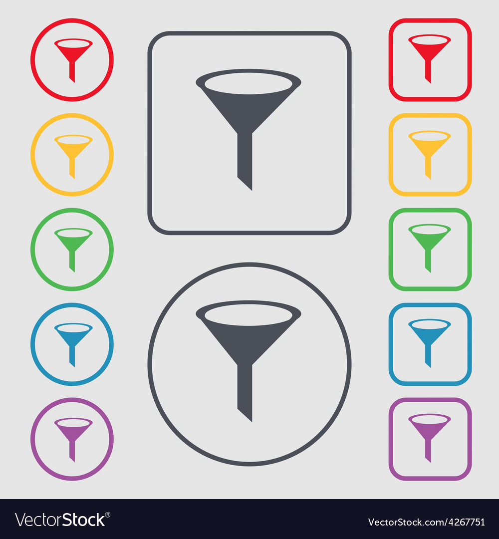 Funnel icon sign symbol on the round and square vector | Price: 1 Credit (USD $1)