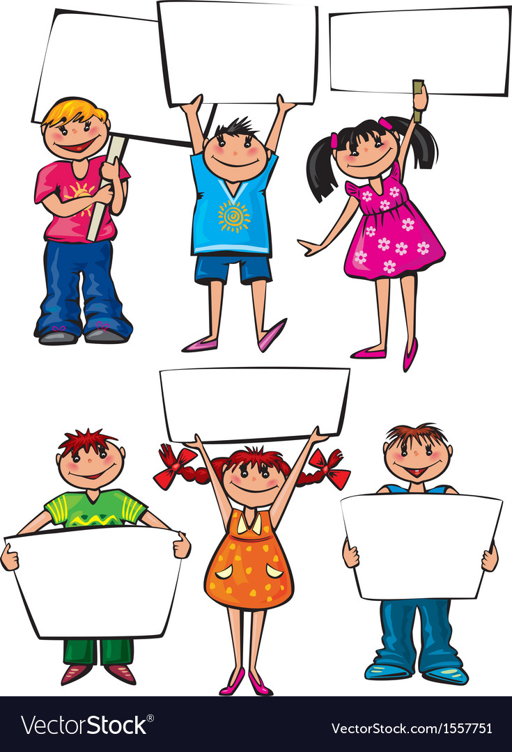 Kids holding blank placard boards vector | Price: 1 Credit (USD $1)