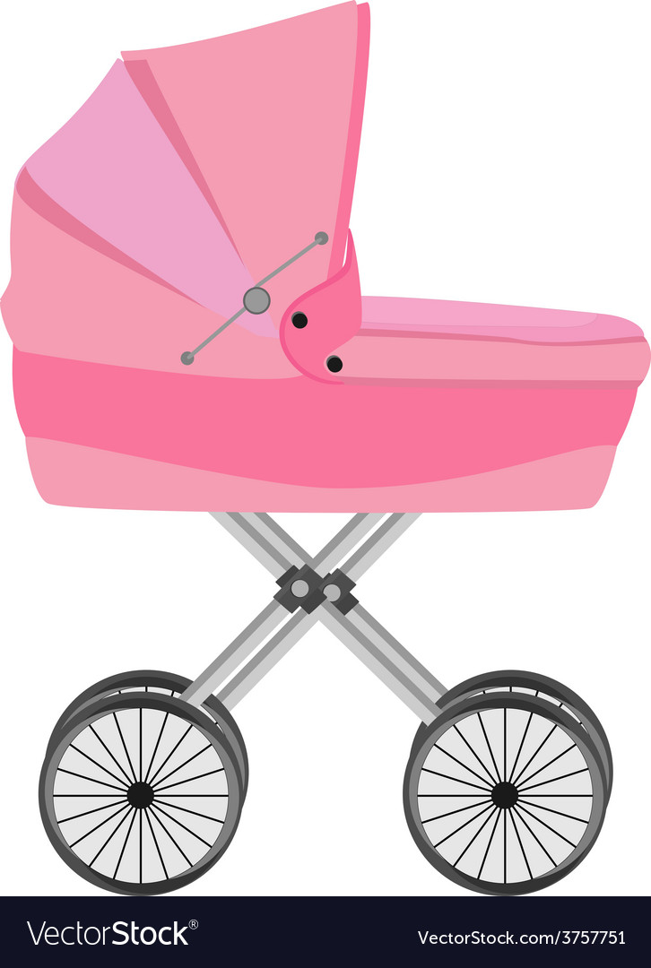 Pink baby carriage vector | Price: 1 Credit (USD $1)