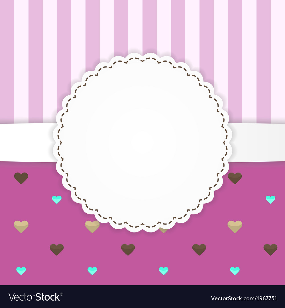 Pink stripped greeting card template with hearts vector   Price: 1 Credit (USD $1)