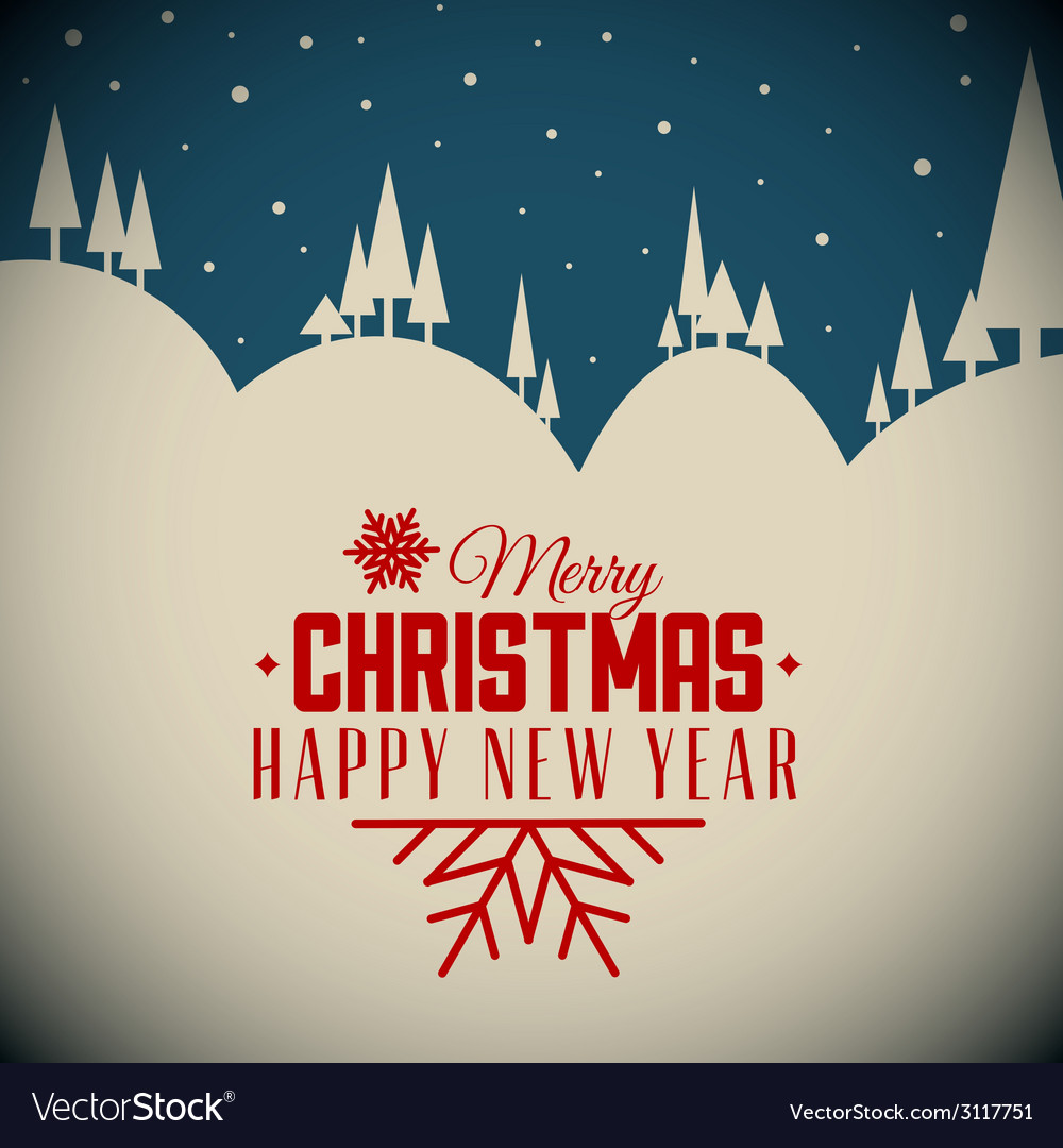 Retro night snowy christmas card vector | Price: 1 Credit (USD $1)