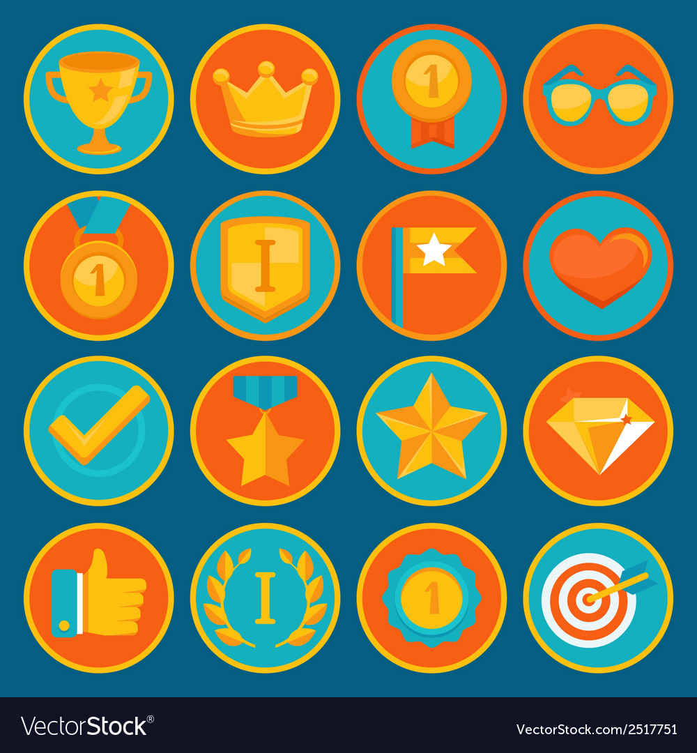 Set of 16 flat gamification icons vector | Price: 1 Credit (USD $1)