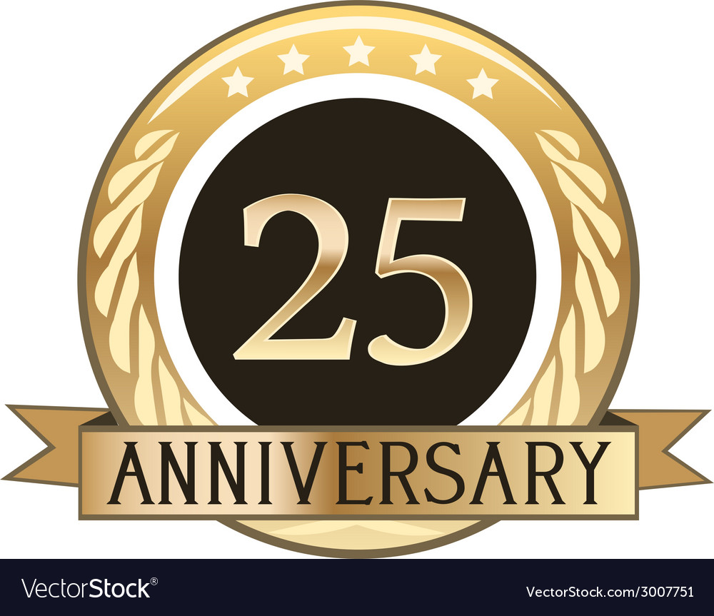 Twenty five year anniversary badge vector | Price: 1 Credit (USD $1)