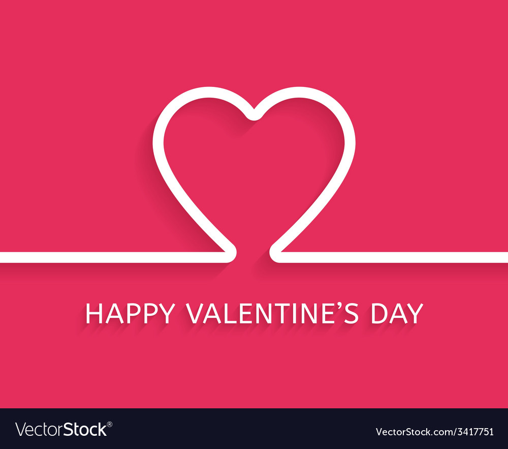 Valentines day flat style greeting card vector | Price: 1 Credit (USD $1)