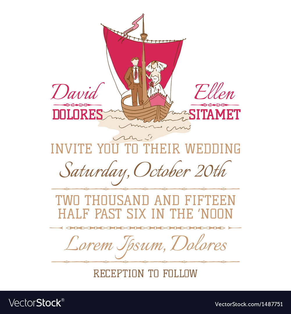 Wedding vintage invitation card vector | Price: 1 Credit (USD $1)
