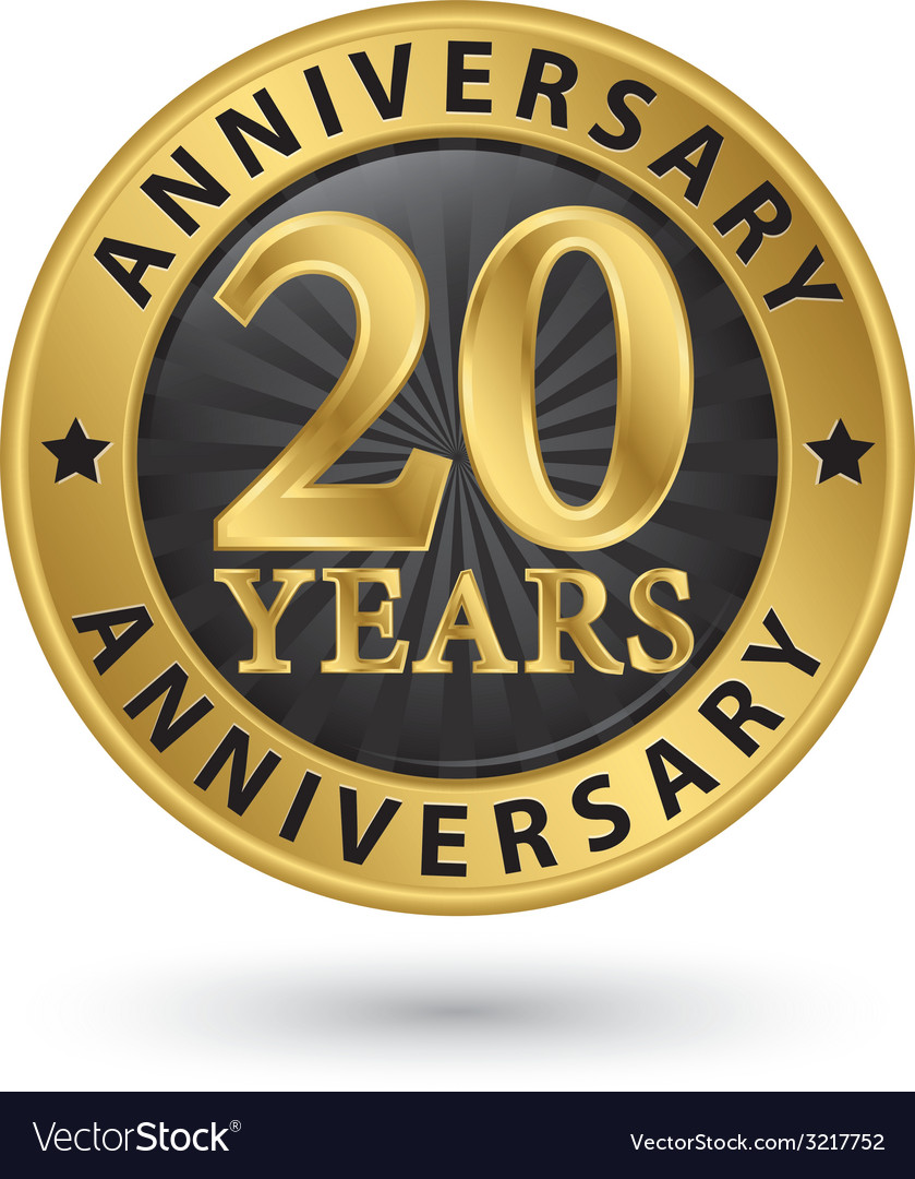 20 years anniversary gold label vector | Price: 1 Credit (USD $1)