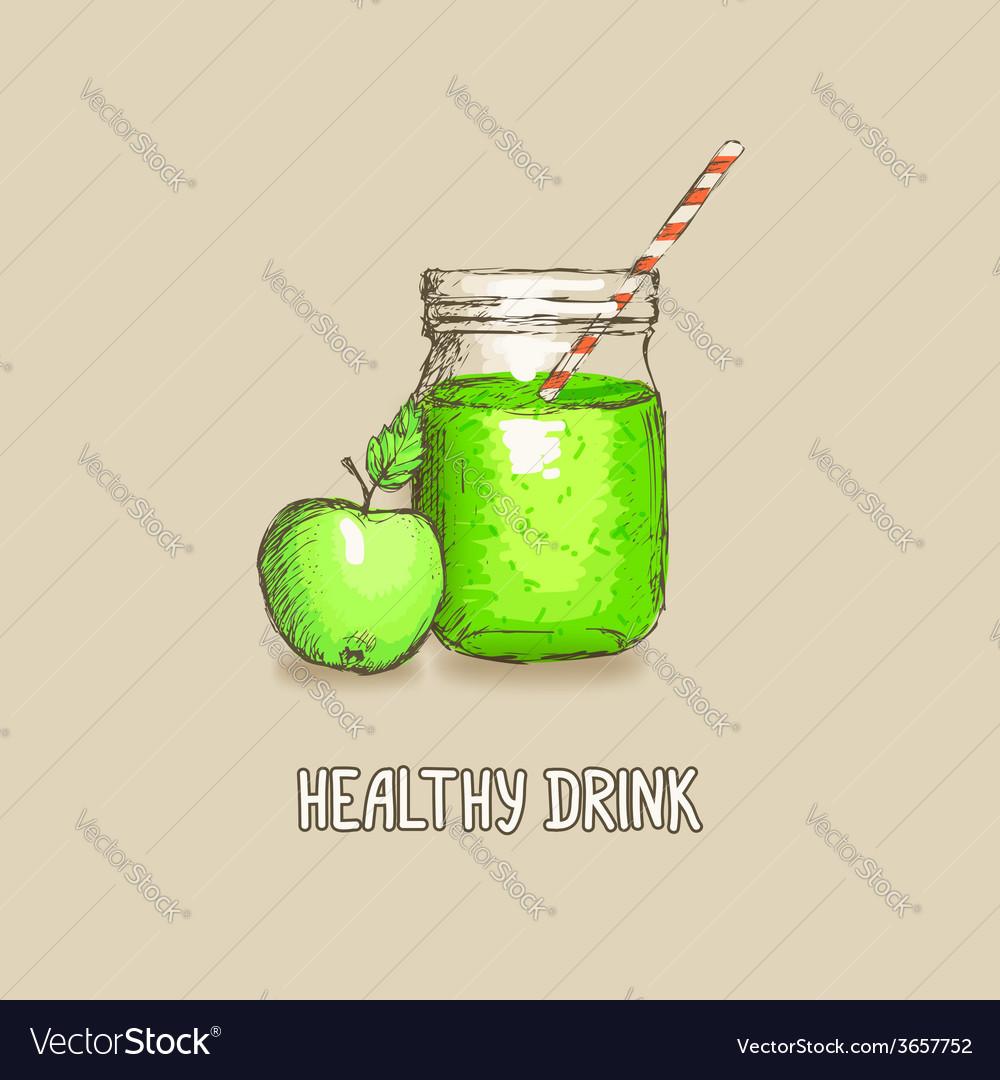 Apple healthy drink vector | Price: 1 Credit (USD $1)