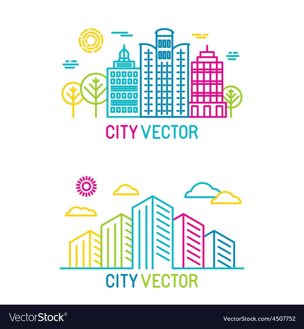 City and architecture logos in trendy bright vector | Price: 1 Credit (USD $1)