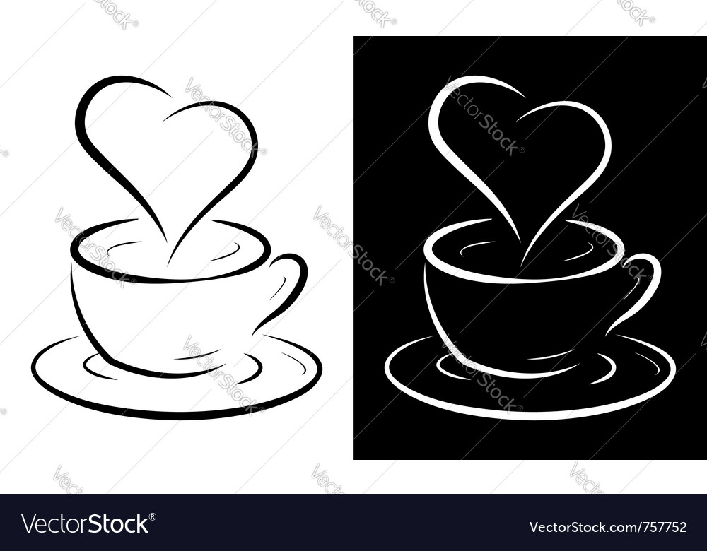 Coffee cup with heart symbol vector | Price: 1 Credit (USD $1)