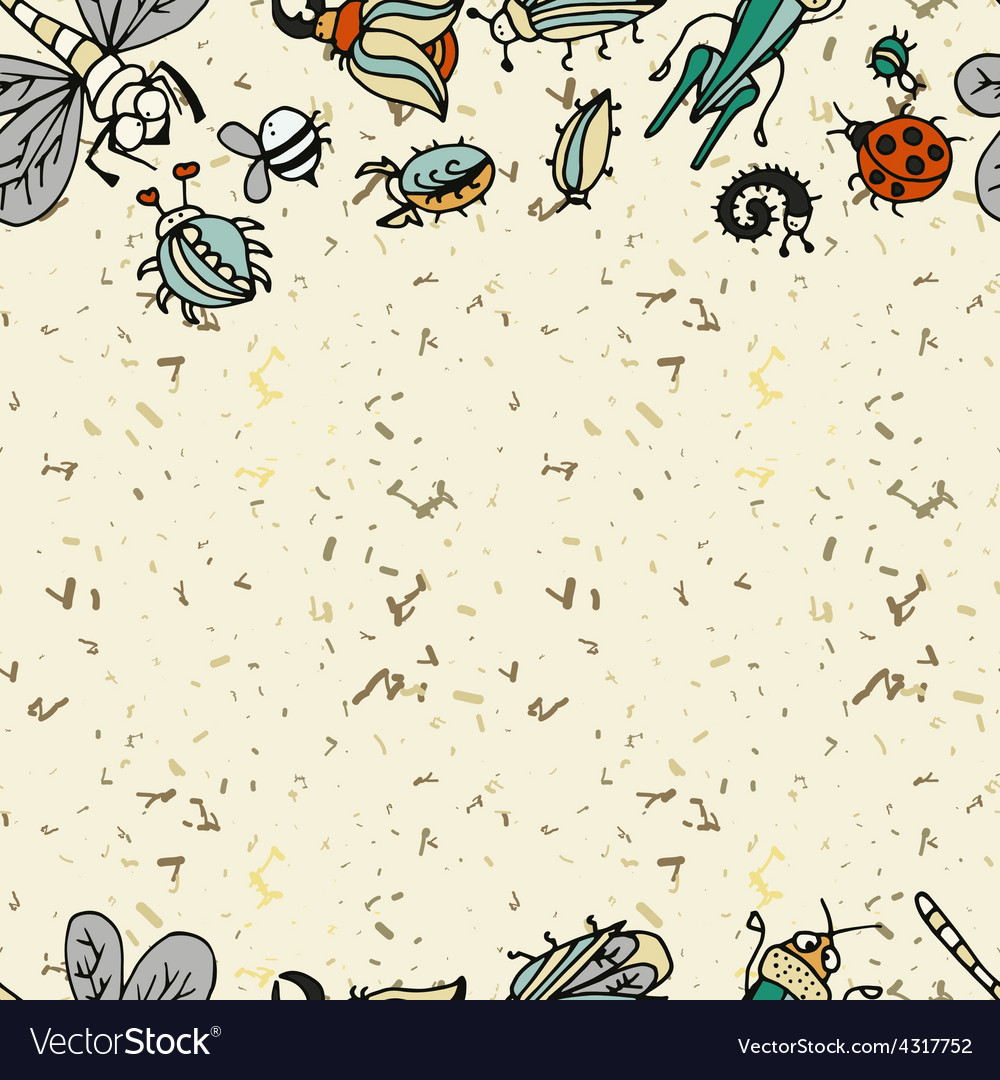 Cute cartoon insect border pattern summer concept vector | Price: 1 Credit (USD $1)
