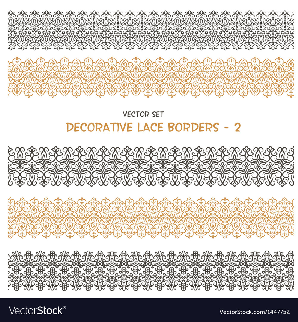 Decorative seamless floral borders vector | Price: 1 Credit (USD $1)