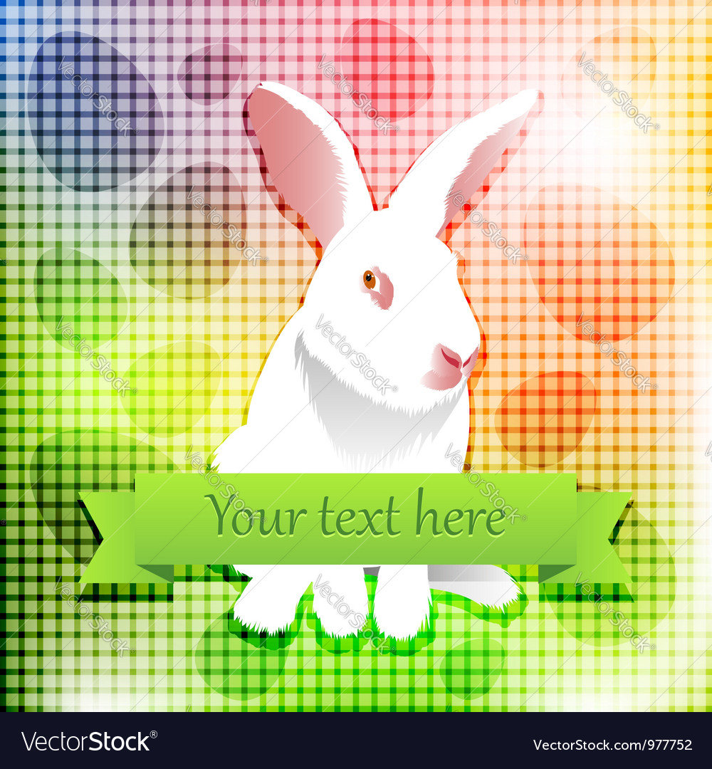 Easter white rabbit over rainbow background vector | Price:  Credit (USD $)
