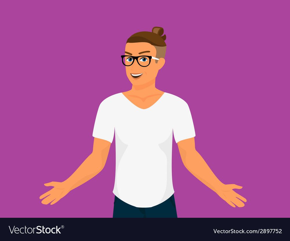Hipster guy wearing small ponytail vector | Price: 1 Credit (USD $1)
