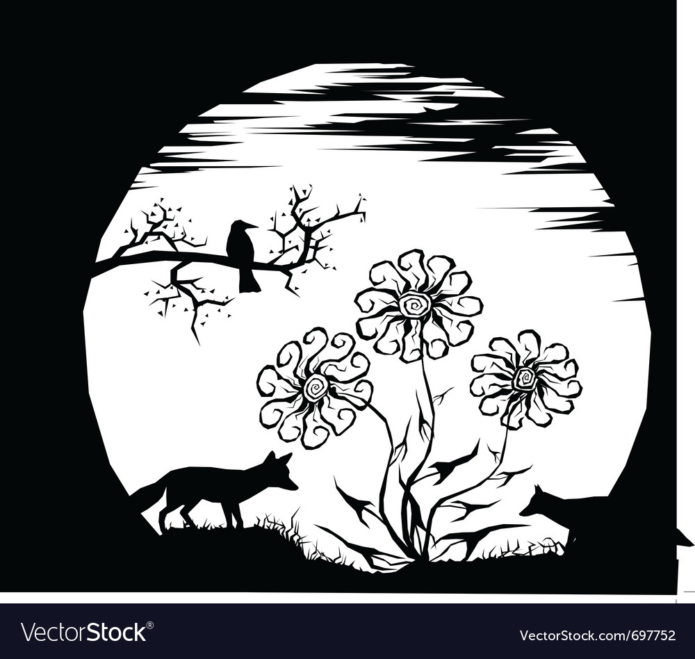 Moon and silhouettes vector | Price: 1 Credit (USD $1)