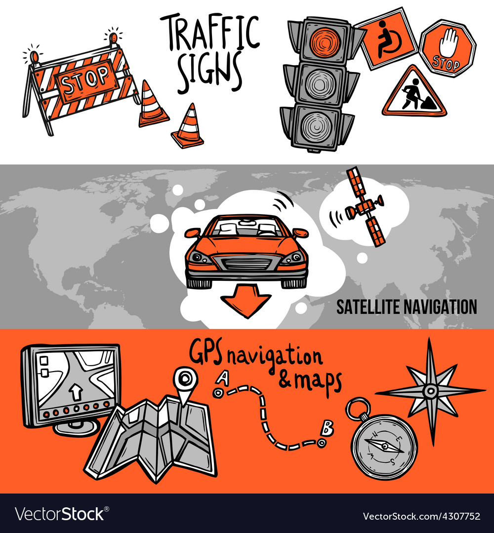 Navigation banner set vector | Price: 1 Credit (USD $1)