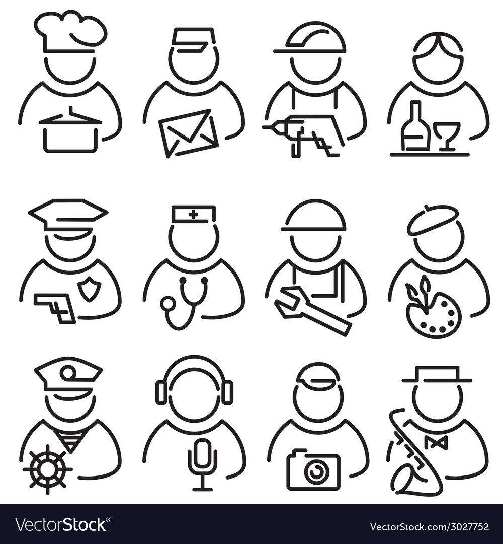 Set line peoples icons vector | Price: 1 Credit (USD $1)