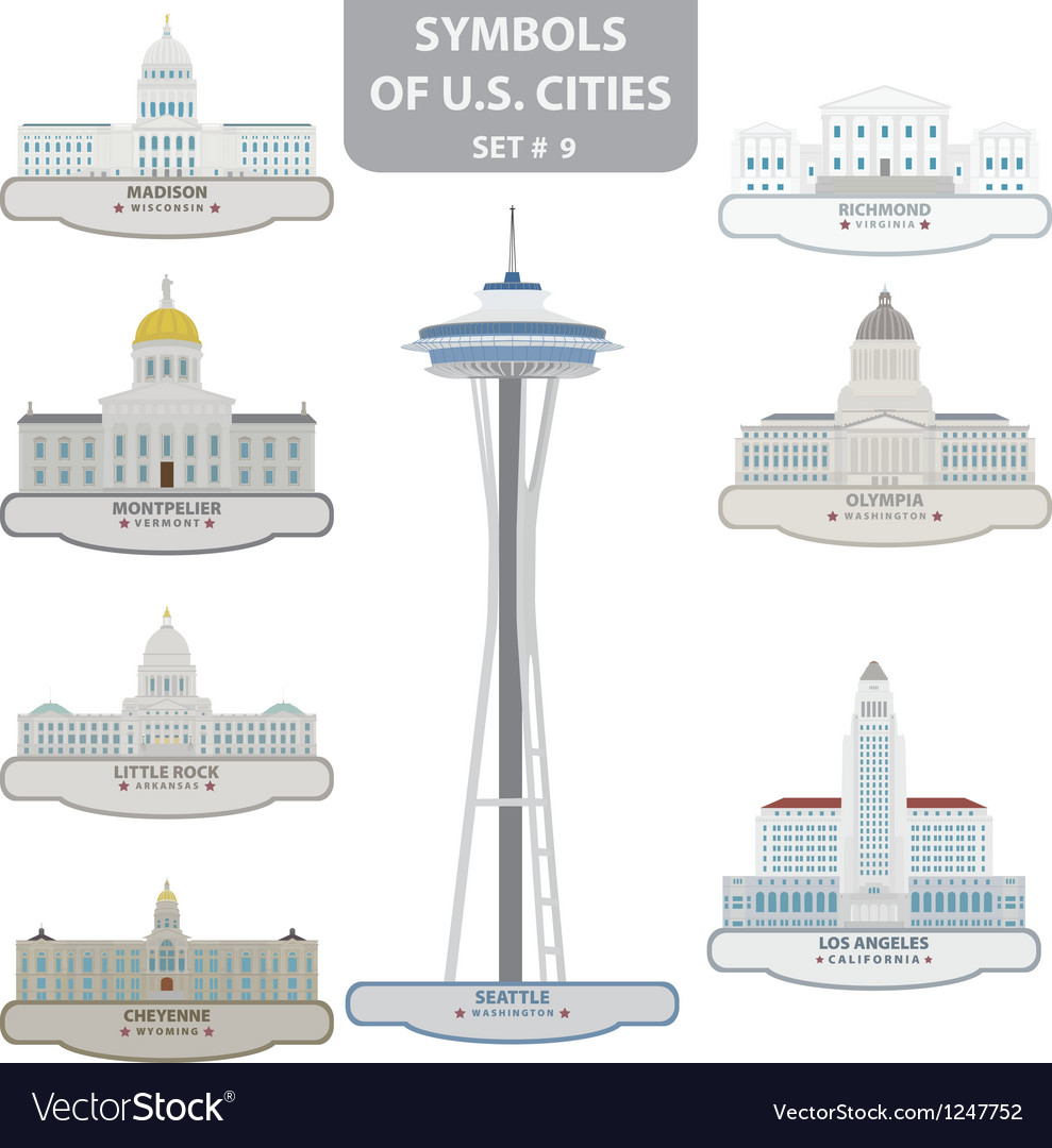 Symbols of us cities vector | Price: 1 Credit (USD $1)