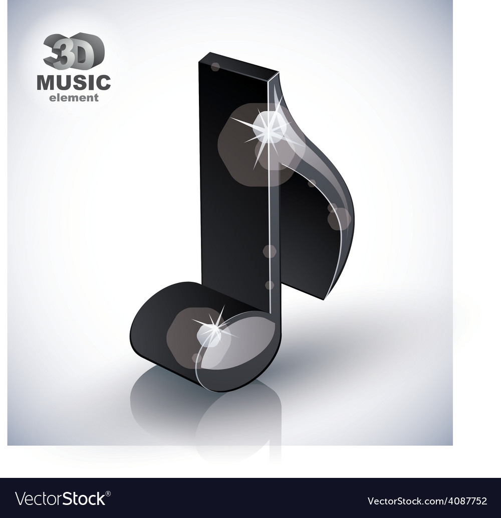Trendy slim musical note 3d modern style icon vector | Price: 1 Credit (USD $1)