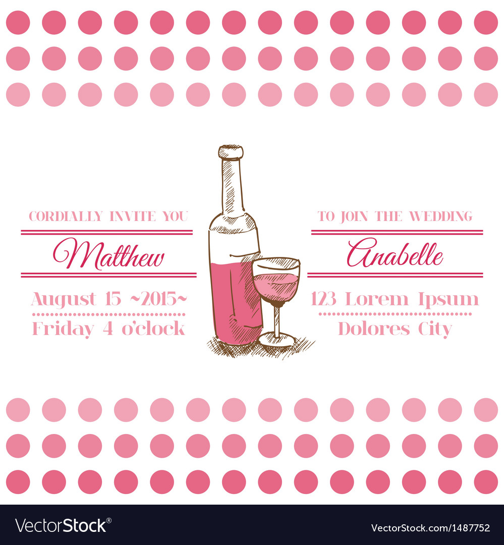 Wedding vintage invitation card - wine theme vector | Price: 1 Credit (USD $1)