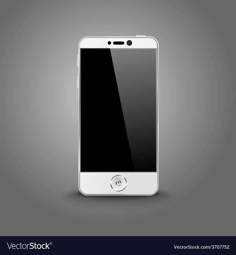White modern smart phone with black screen vector | Price: 1 Credit (USD $1)