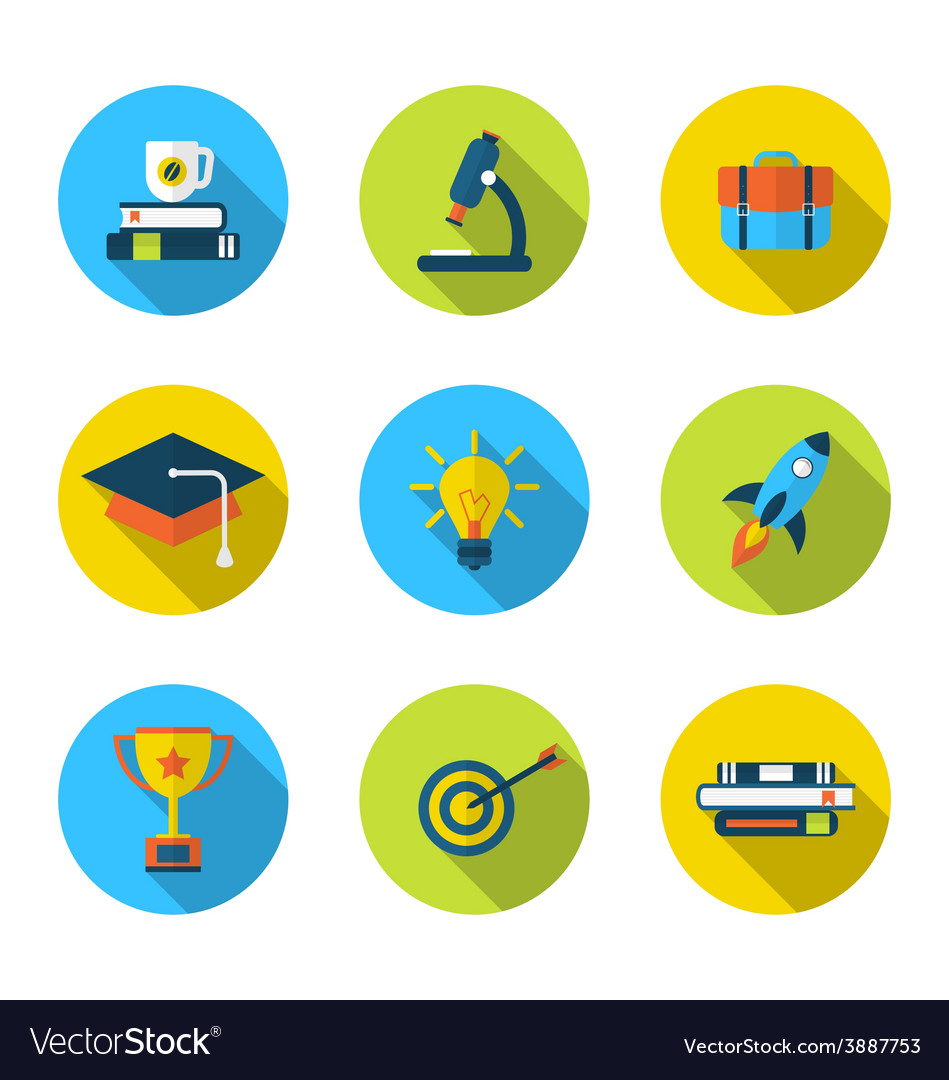 Flat icons of elements and objects for high school vector | Price: 1 Credit (USD $1)