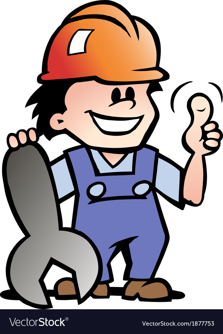 Hand-drawn of an happy mechanic or handyman vector | Price: 1 Credit (USD $1)