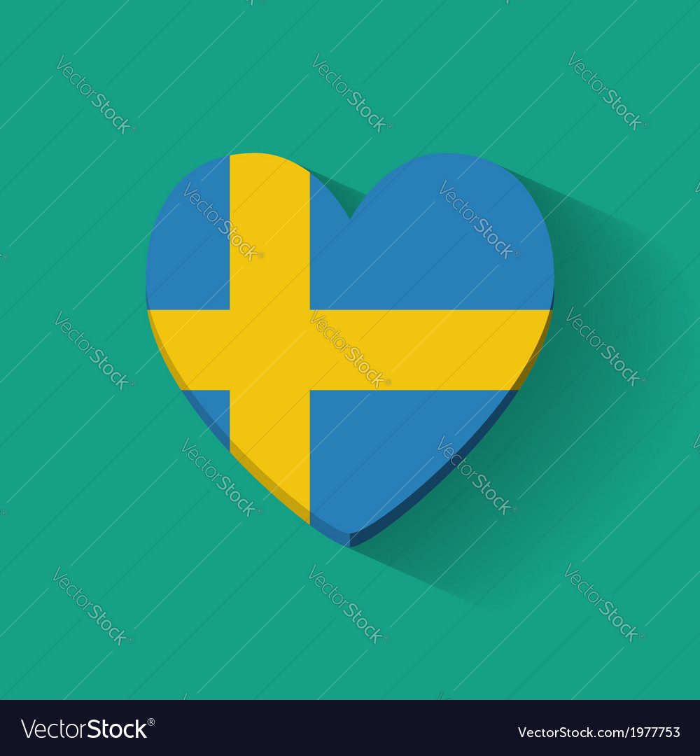 Heart-shaped icon with flag of sweden vector   Price: 1 Credit (USD $1)