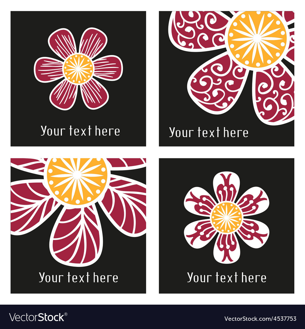 Posters with floral elements in tattoo style vector | Price: 1 Credit (USD $1)