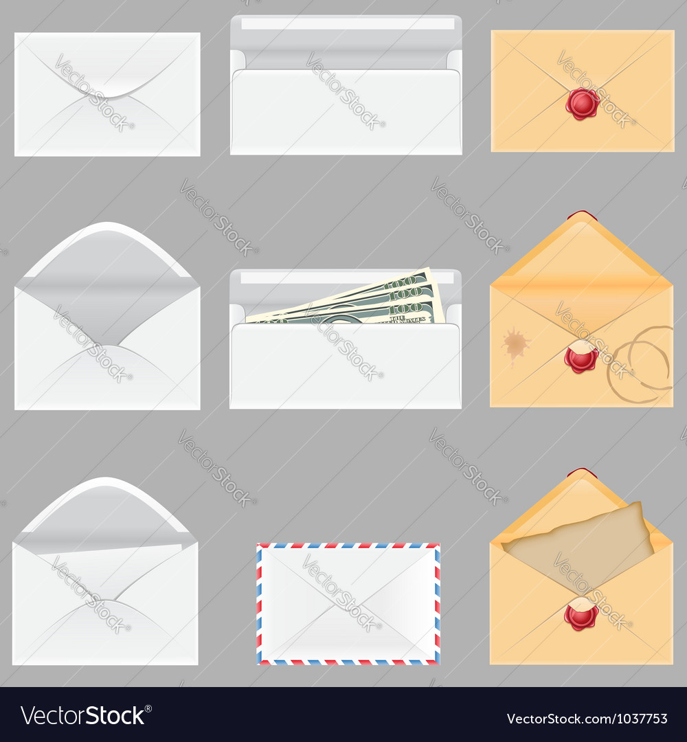 Set icons paper envelopes vector | Price: 1 Credit (USD $1)