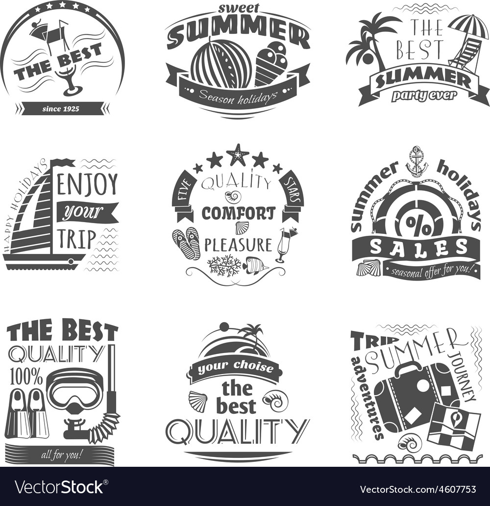 Summer holiday vacation labels set black vector | Price: 1 Credit (USD $1)