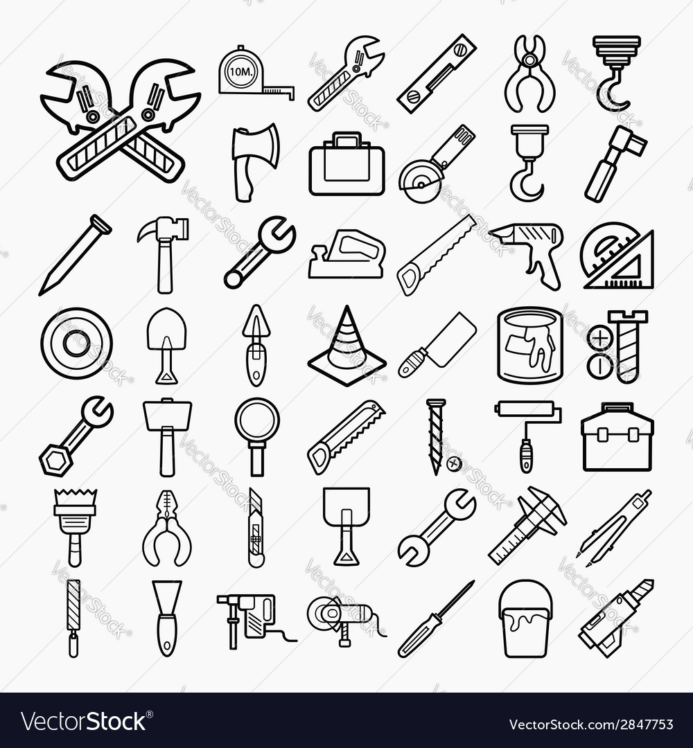 Tools and equipment icons set on white background vector | Price: 1 Credit (USD $1)