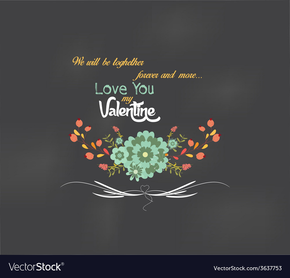 Valentines day romantic floral and bird greeting vector | Price: 1 Credit (USD $1)