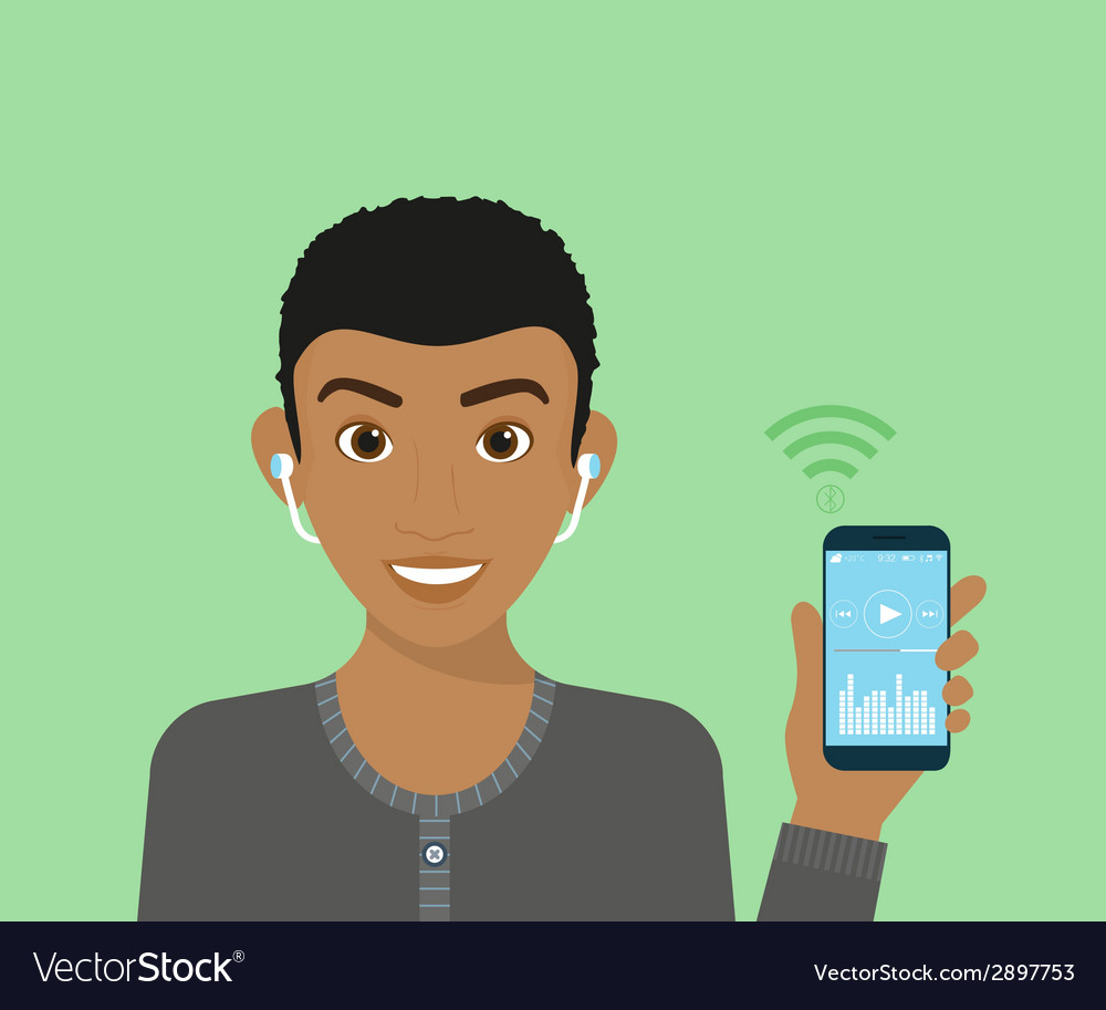 Young guy is listening to music via bluetooth vector | Price: 1 Credit (USD $1)