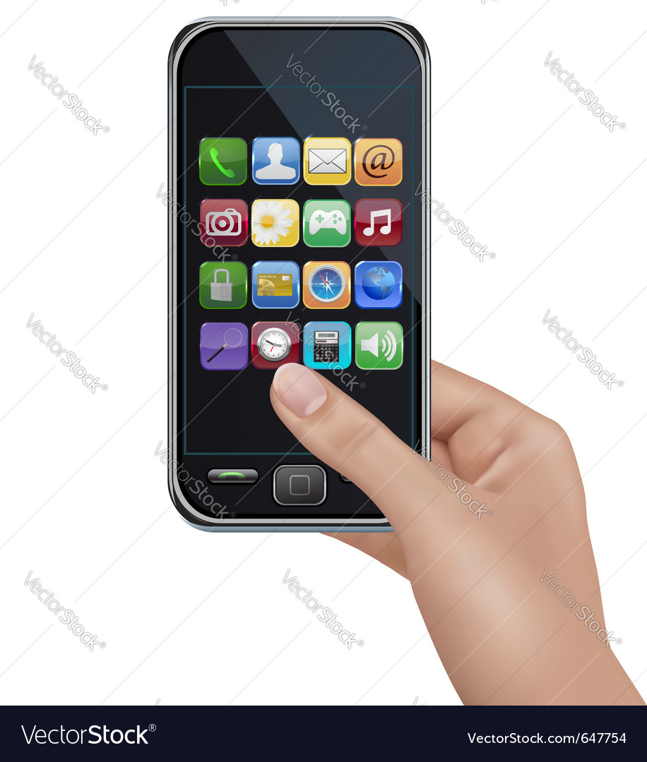 A hand holding touchscreen mobile phone with icons vector | Price: 1 Credit (USD $1)