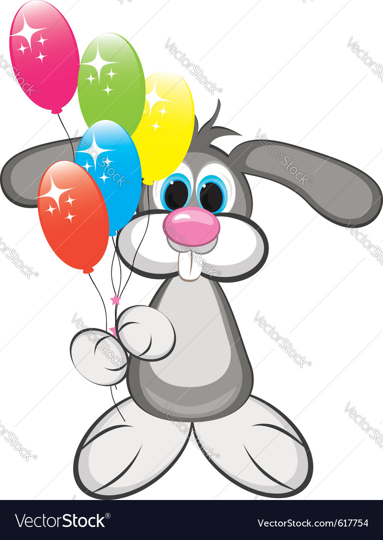 Cartoon rabbit with colorful balloons vector | Price: 1 Credit (USD $1)
