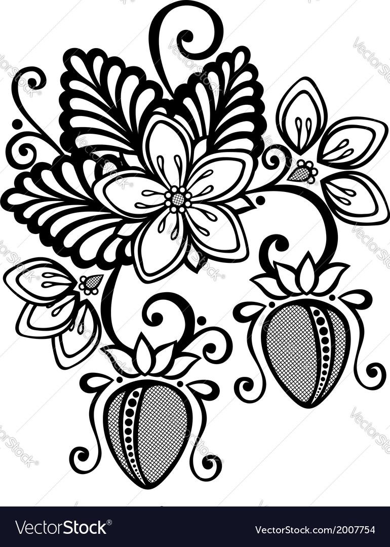 Decorative strawberry bush vector   Price: 1 Credit (USD $1)