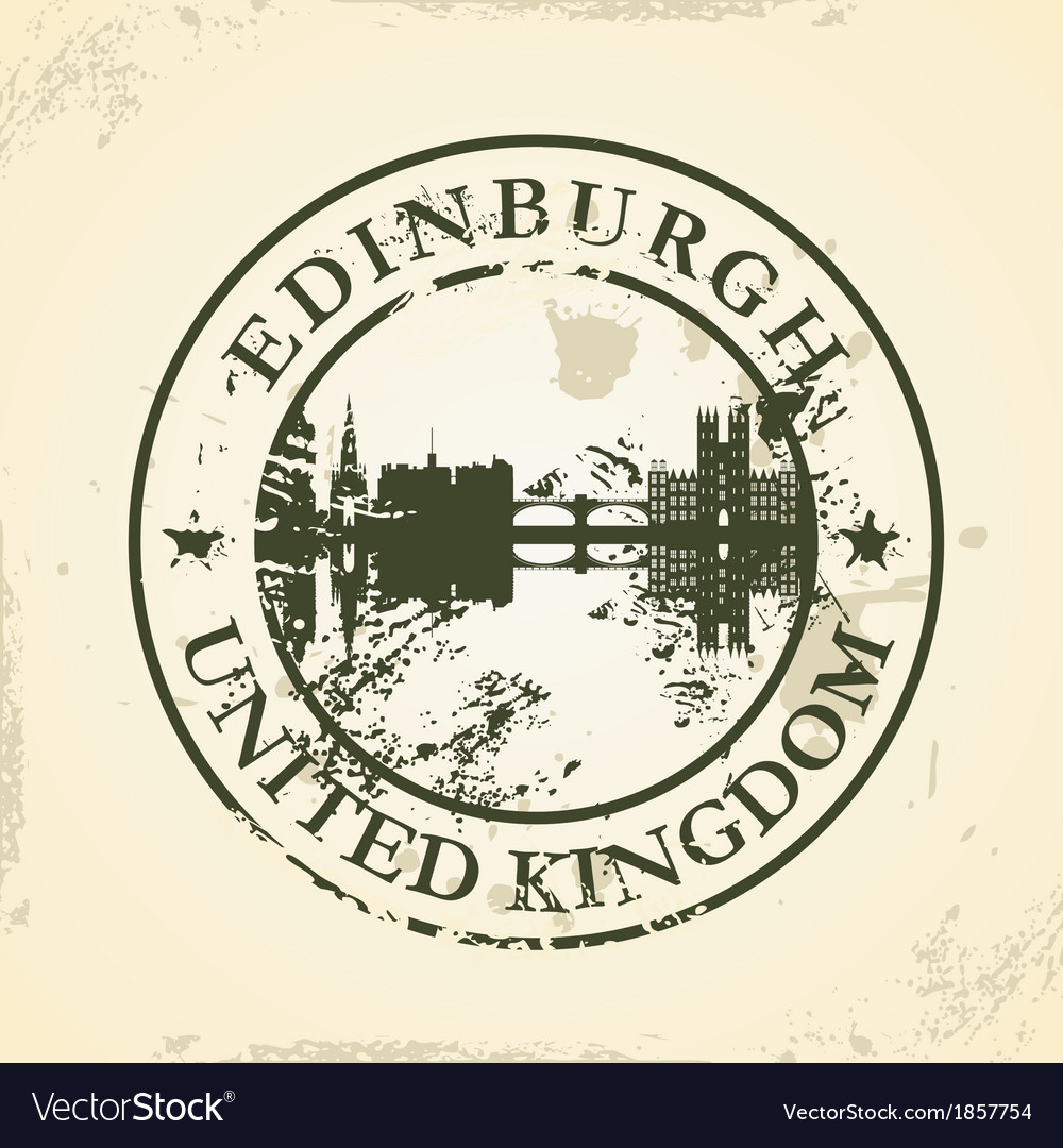 Grunge rubber stamp with edinburgh united kingdom vector | Price: 1 Credit (USD $1)