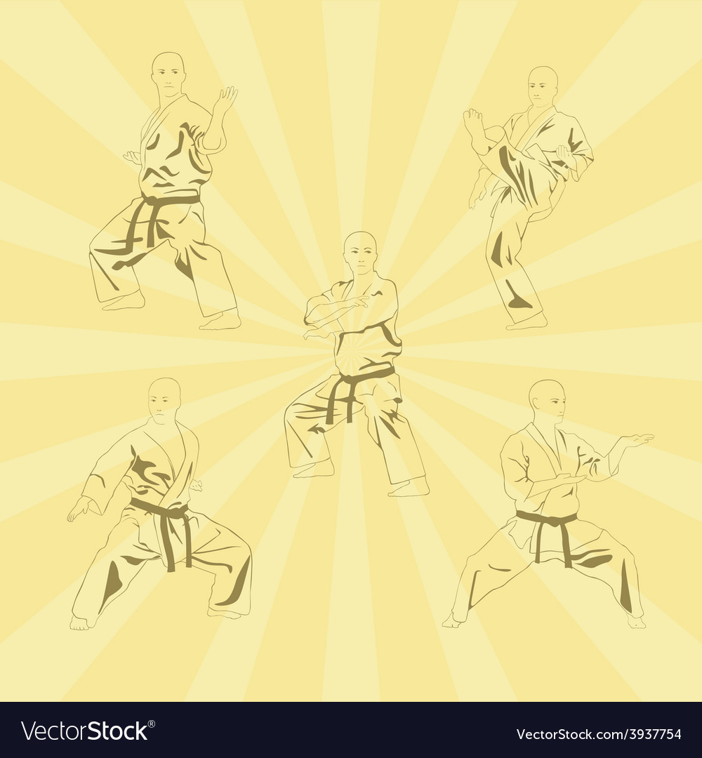 The image of five men who are engaged in karate vector | Price: 1 Credit (USD $1)