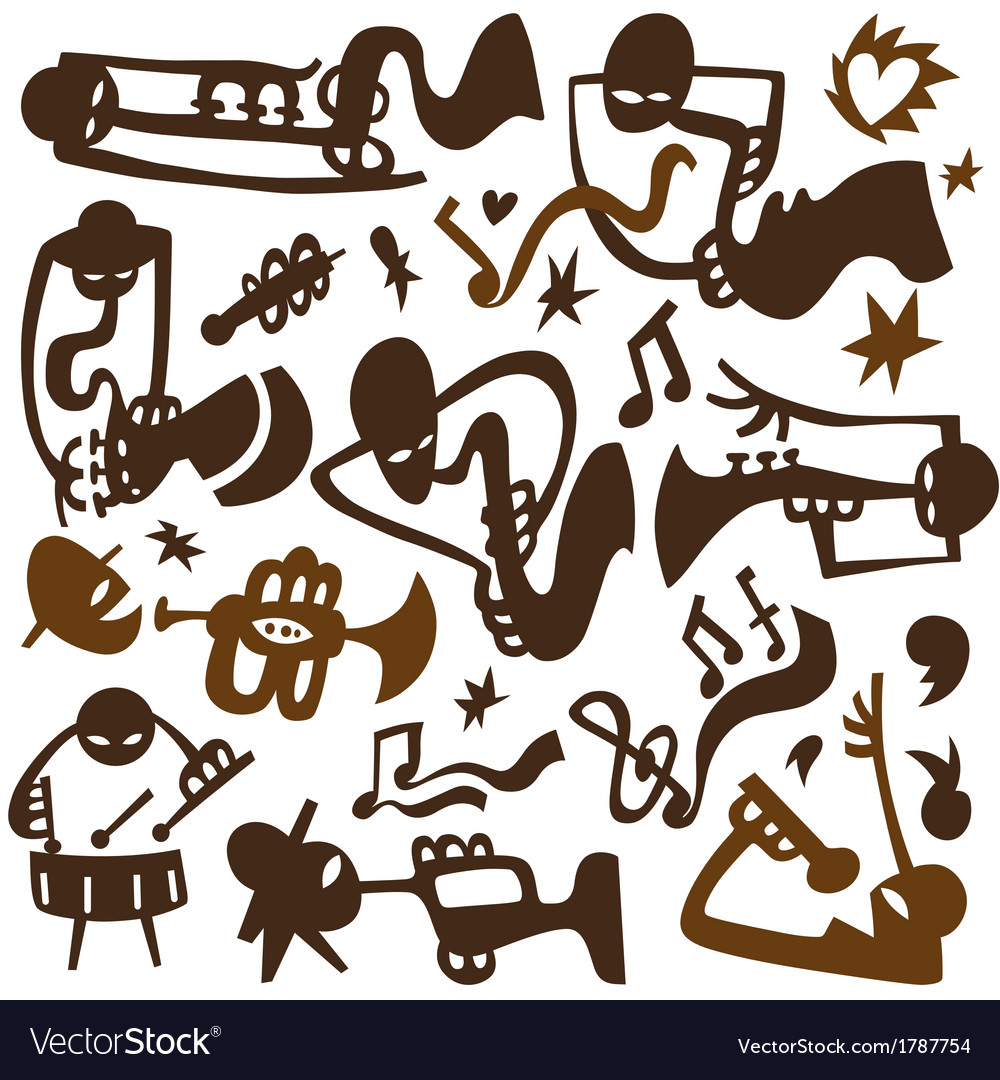 Jazz musicians play on tubes vector | Price: 1 Credit (USD $1)