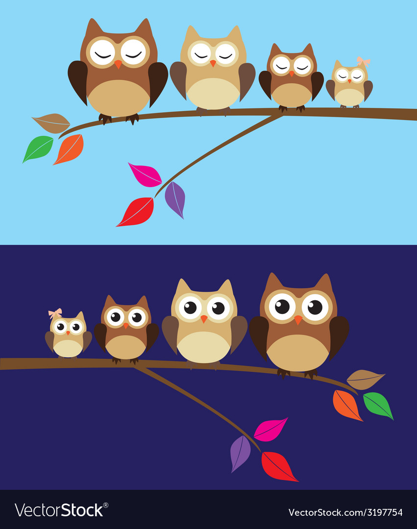 Owl family day night vector | Price: 1 Credit (USD $1)