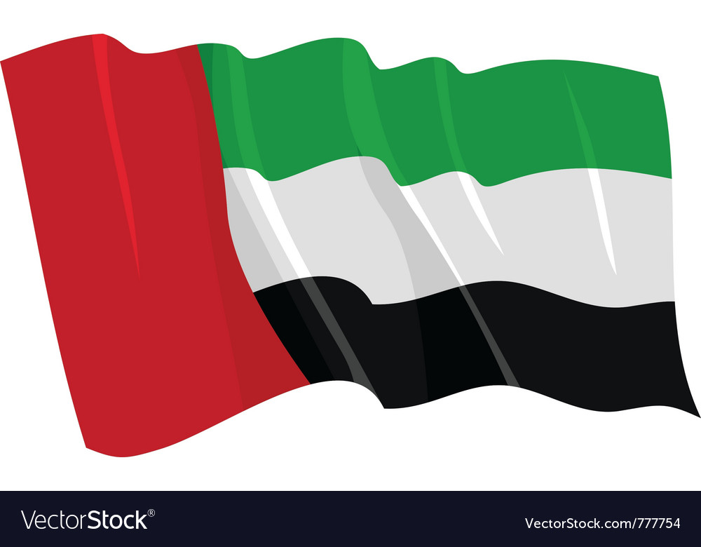 Political waving flag of united arab emirates vector | Price: 1 Credit (USD $1)