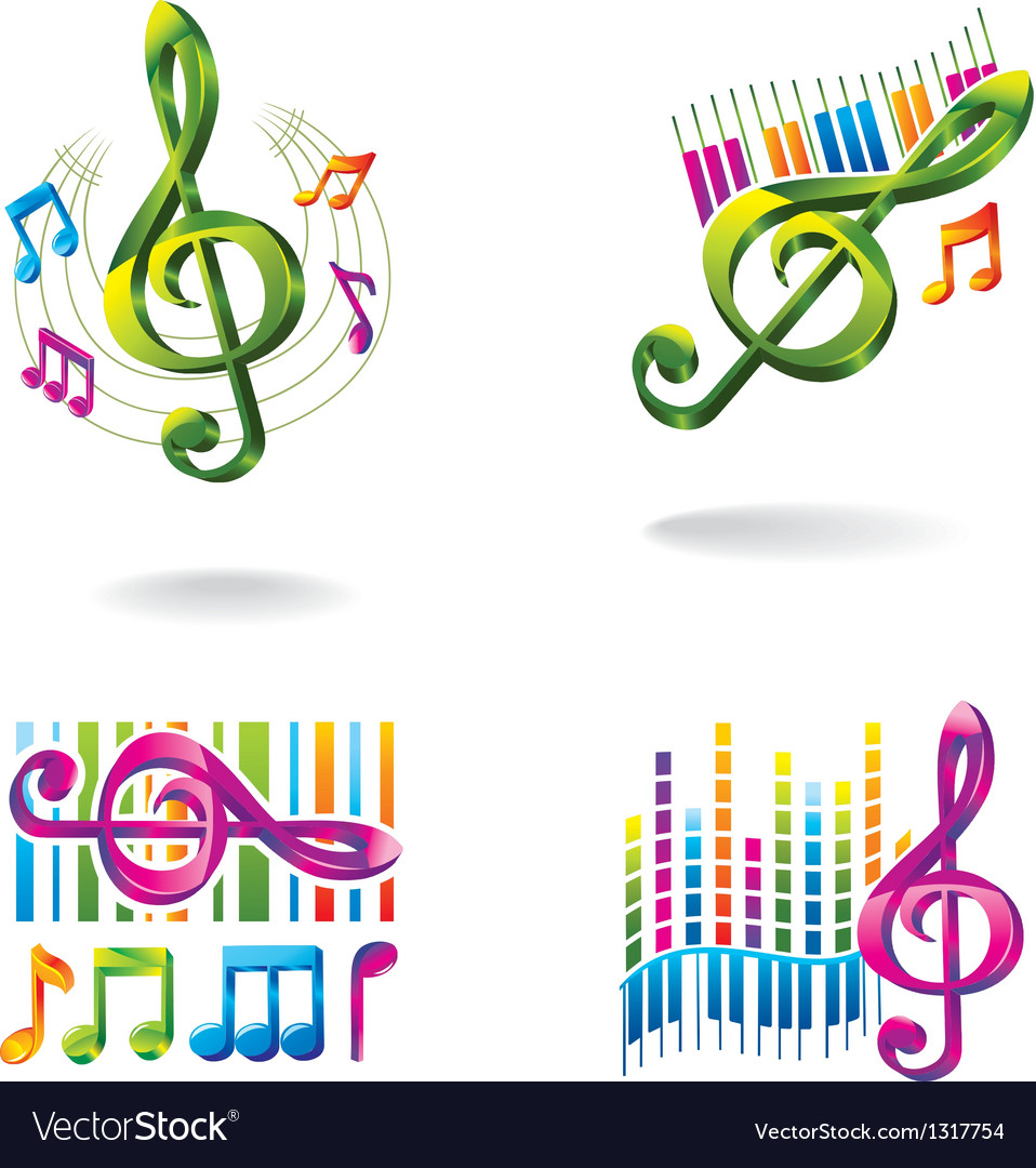 Set of color music icons vector | Price: 1 Credit (USD $1)