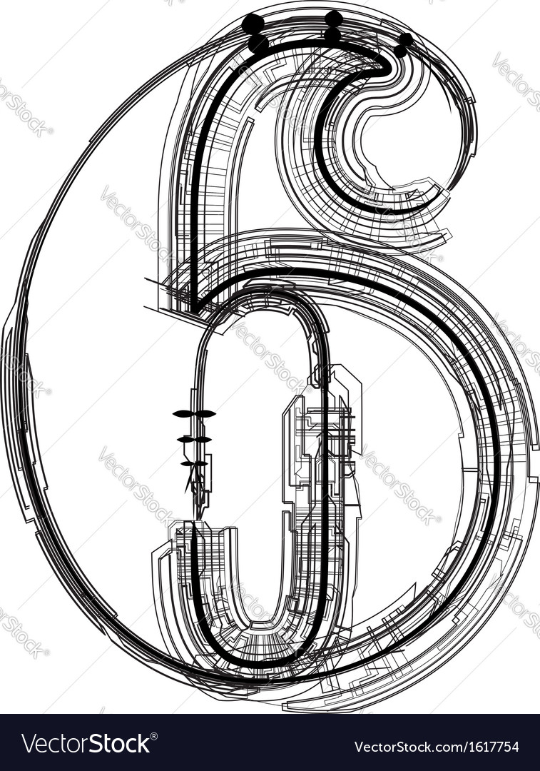 Technical typography number 6 vector | Price: 1 Credit (USD $1)