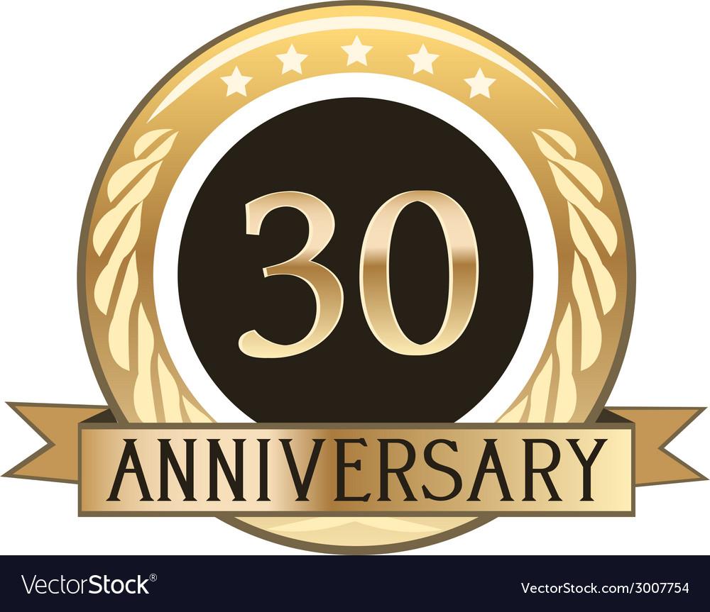 Thirty year anniversary badge vector | Price: 1 Credit (USD $1)