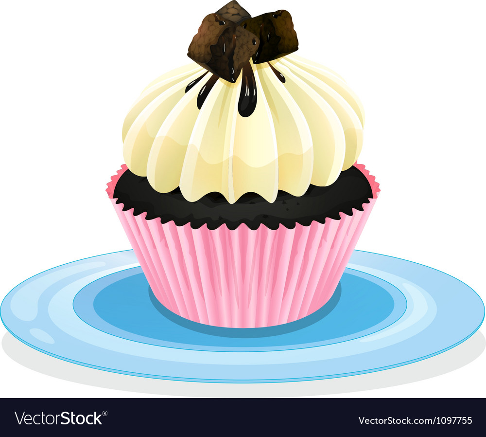 Cake in a plate vector | Price: 1 Credit (USD $1)