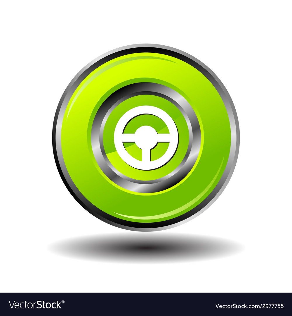 Car steering wheel button green glossy vector | Price: 1 Credit (USD $1)